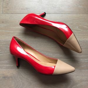 Patent Color Block Kitten Heels